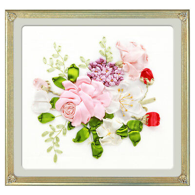 Handmade Ribbon Embroidery Kits DIY Flower Bouquet Painting Wall Decoration