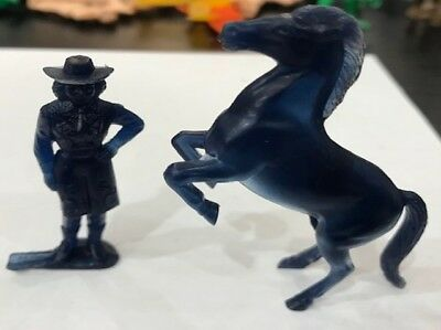Vintage 1950s Nabisco Cereal Premiums Sky King Translucent Blue Cowgirl & Horse