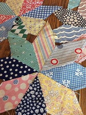 Vintage Lot of (5) Antique 8 Point Stars~Colorful Feedsacks for Quilt Blocks.
