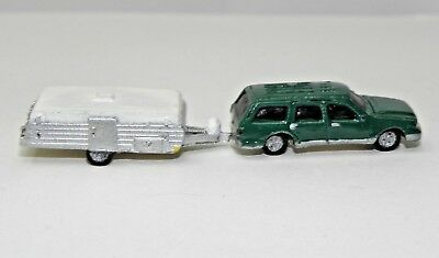 N Scale RESIN STATION WAGON & CAMPER TRAILER - PAINTED, NEW