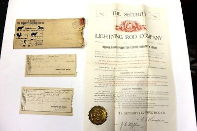 RARE - 1908 The Security Lightning Rod Co. Burlington, Wisc.  WARRANTY  Papers