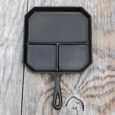 Vintage Cast Iron Bacon & Egg Divided Square Breakfast Skillet