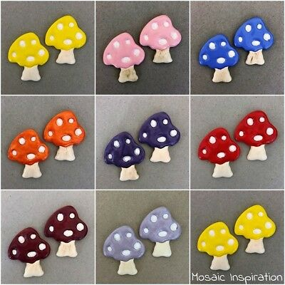 CERAMIC MUSHROOM / TOADSTOOL x2 ~ Mosaic Inserts, Art, Craft Supplies