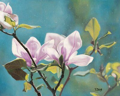 Oil painting original Magnolia flower plant on canvas panel, nature 8×10""