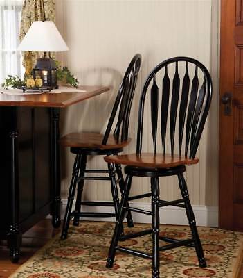 Swivel Counter Stool in Antique Black and Cherry Finish [ID 3134454]