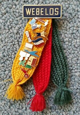 Webelos Activity Badge Tri-Color Ribbon with 12 Assorted Pins Boy Cub Scout BSA