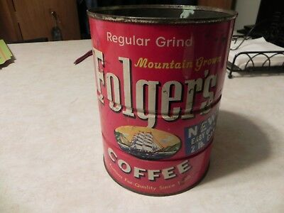vintage 2lb folgers coffee can