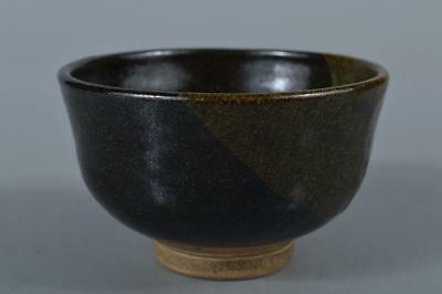 R7566:Japanese Seto-ware Black glaze TEA BOWL Green tea tool,auto Tea Ceremony