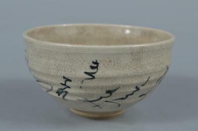 R7596: Japanese Kiyomizu-ware Blue&White Poetry pattern TEA BOWL Green tea tool