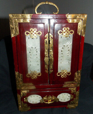 Vintage Chinese Rosewood/Brass/Mother Pearl Inlay Jewelry Box/Cabinet! 12 1/2""