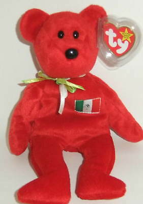 1999 Osito Bear Ty Beanie Baby With Mexican Flag - New With Tag