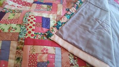 patchwork quilt handmade single bed