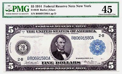 "Tougher ""glass"" Note! 1914 Large-Size $5 New York Fr-849 Pmg Choice Ef-45"