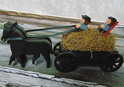 NEW Mary Yoders Amish Kitchen HORSE BUGGY HAY WAGON Ride Figure Wooden Wood NWT