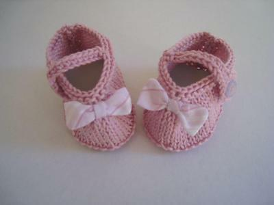 Baby Booties/shoes Dusty Pink Ankle strap  Bow trim Gift Shower girl Handknitted