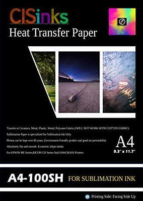 """CISinks A4 Sublimation Ink Transfer Paper 100 sheets 8.27"""" x 11.7"""" For EPSON ..."""