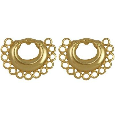 ACROSS THE PUDDLE 24k GP Pre-Columbian Nose Ring with Circles Drop Earrings (M)