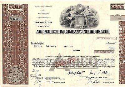 stock certificate Air Reduction Comp., Inc. AIRCO now 1971 brown