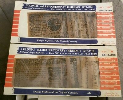 """Colonial & Revolutionary Currency 1773-1781 Reproductions Collection Set """"A"""" """"B"""""""