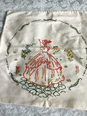 Beautiful Hand Embroidered Crinoline Lady Cushion Cover