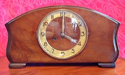 Vintage Art Deco English 8-Day Striking Mantel Clock with Two Types of Gongs