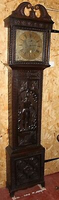 1750 8 Day Brass Face Grandfather Clock Tho Vernon of Ludlow