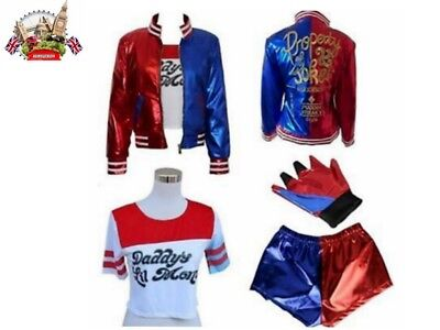 4PCS/Set Girls Costume Set Suicide Squad Harley Quinn Kids Cosplay Fancy Dress