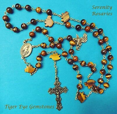 """""""Dove of Peace"""" Rosary Handcrafted in Tiger Eye Gemstones,Brass finish,gift boxd"""