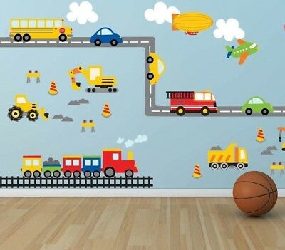 Wall stickers balloon car world track truck Decor Removable Nursery Kids Baby