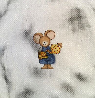 """Completed Cross Stitch Tapestry - """"Furry Tales"""" Teatime Mouse"""