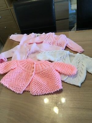 Hand knitted baby girl cardigans 0-3 months.