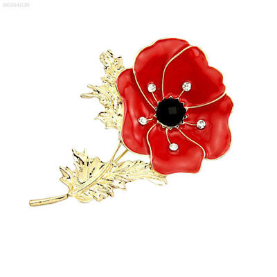 F162 Red Poppy Brooch Pin Banquet Crystal Badge Gold Flower Remembrance Fine