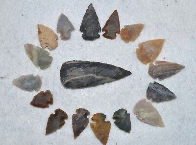 """17 PC Flint Arrowhead Ohio Collection Points 1-3"""" Spear Bow Stone Hunting 2532"""