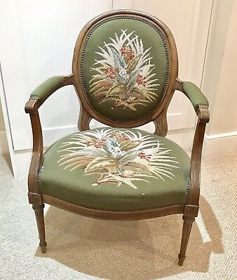 French Armchair Louis XV Style Green Botanical Needlepoint Tapestry Chair London