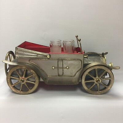 "Musical Model T Car Decanter Holder 4 shot glasses plays ""How Dry I Am"" Barware"