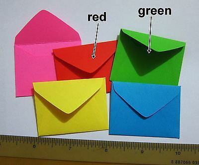 """Handmade small envelopes 1-1/2""""x2"""" tiny little envies RED party invites favors"""
