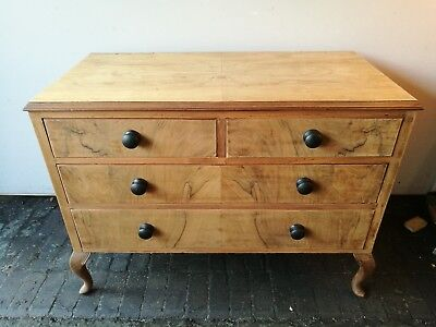 Antique wooden vintage chest of drawers walnut inlay