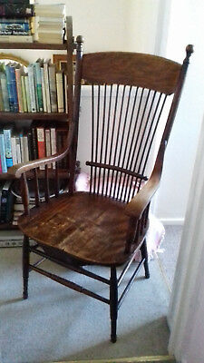 Antique American Large Tall Rustic Windsor Stickback/Fireside Chair Arts & Craft
