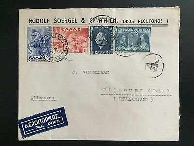 GREECE 1940 WW2 censored airmail cover Athens to Freiburg, Germany