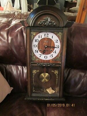 French retro vintage wall clock by Holly 30 days movement, working order, key