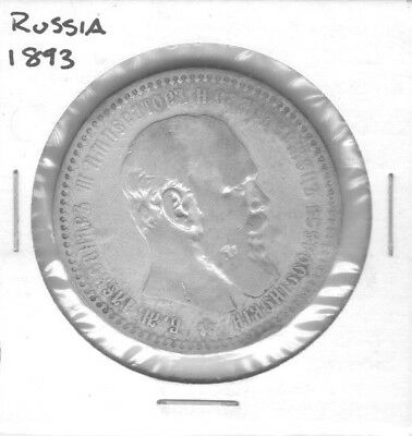 Aloha Lot #75 1893 Russia 1 Rouble Ruble Alexander Iii Worn Silver Coin Y# 46