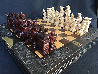 VINTAGE CHINESE FIGURAL CHESS SET HAND CARVED WOOD W BOARD EIGHT IMMORTALS 1940s