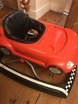 Red VW beetle baby walker used good condition height adjustable
