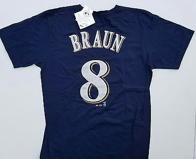 Mlb Milwaukee Brewers #8 Ryan Braun Majestic T-Shirt Adult Medium