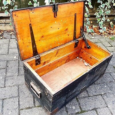 Large Vintage Pine Tool Box. Victorian era. Toy Box? Treasure Chest?