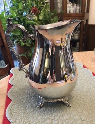 Old Vintage  WM Rogers Footed Water Pitcher Ice Guard Silverplate