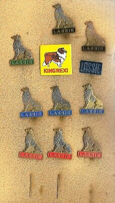 9 fullmetal + 1 tin badge of Lassie the TV collie + 1 tin badge with collie