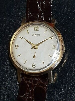 Gold Plated Gents Vintage Oris 7 Jewel Sub Dial Mechanical Wrist Watch