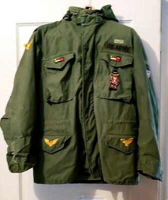 VTG US Army Military Field Coat 1965 Vietnam Major Hooded Jacket Size M Patches