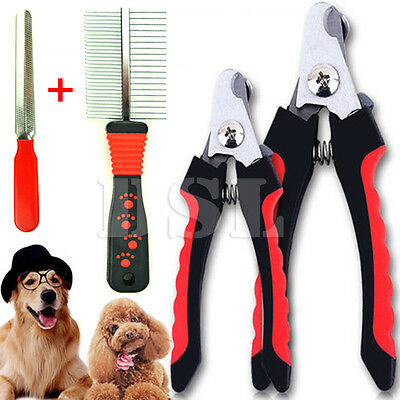 Pet Animal Dog Cat Bird Grooming Nail Clipper Scissor Trimmer + Nail File & Comb